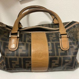 FENDI Vintage Brown Canvas Handbag